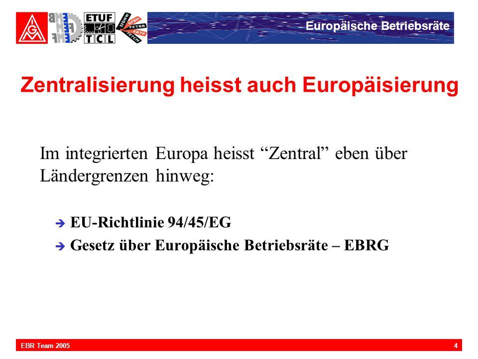 """Europäische Betriebsräte 4EBR Team 2005 Zentralisierung heisst auch Europäisierung Im integrierten Europa heisst """"Zentral"""" eben über Ländergrenzen hin"""
