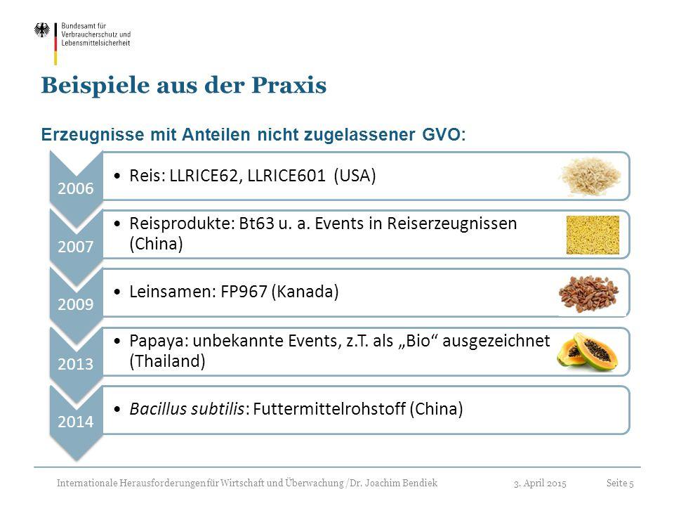3. April 2015Seite 5 Internationale Herausforderungen für Wirtschaft und Überwachung /Dr. Joachim Bendiek Beispiele aus der Praxis Erzeugnisse mit Ant