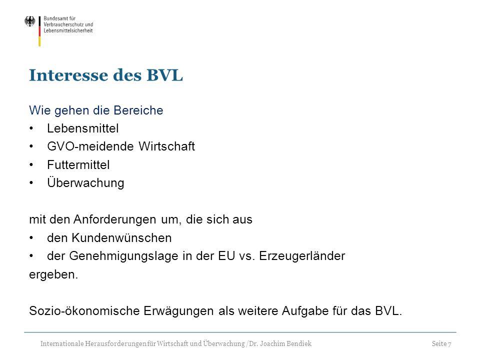 Seite 7 Internationale Herausforderungen für Wirtschaft und Überwachung /Dr. Joachim Bendiek Interesse des BVL Wie gehen die Bereiche Lebensmittel GVO