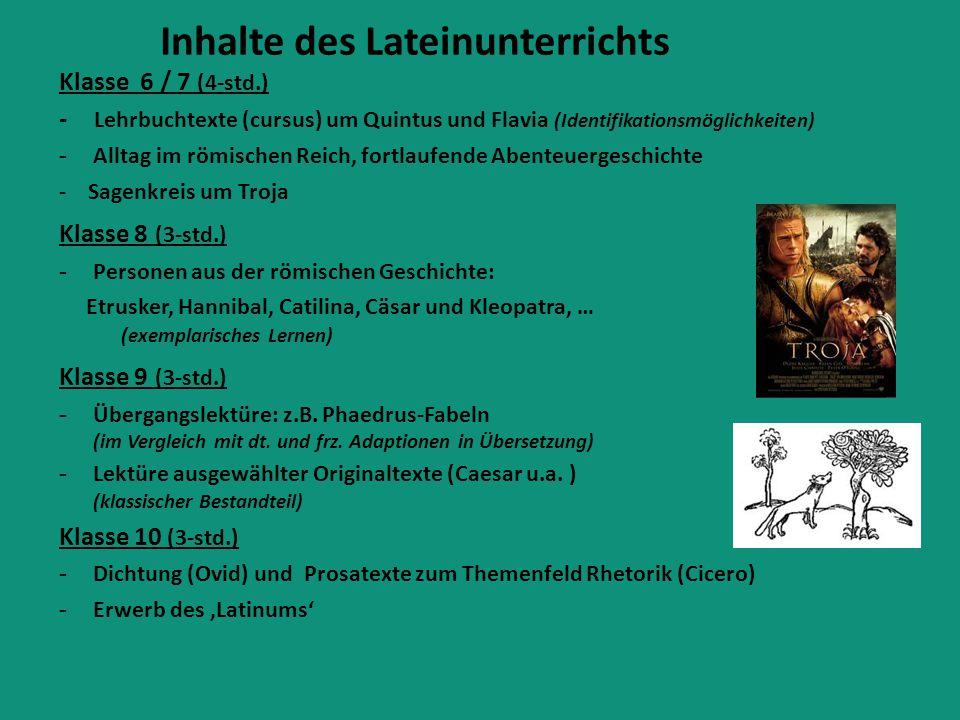 Inhalte des Lateinunterrichts Klasse 6 / 7 (4-std.) - Lehrbuchtexte (cursus) um Quintus und Flavia (Identifikationsmöglichkeiten) - Alltag im römische