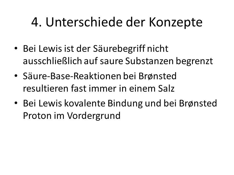 4. Unterschiede der Konzepte Bei Lewis ist der Säurebegriff nicht ausschließlich auf saure Substanzen begrenzt Säure-Base-Reaktionen bei Brønsted resu