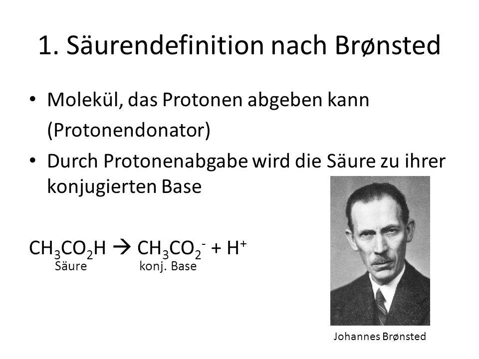 1. Säurendefinition nach Brønsted Molekül, das Protonen abgeben kann (Protonendonator) Durch Protonenabgabe wird die Säure zu ihrer konjugierten Base
