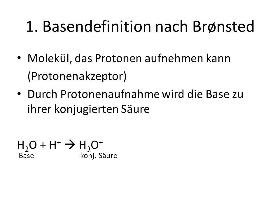 1. Basendefinition nach Brønsted Molekül, das Protonen aufnehmen kann (Protonenakzeptor) Durch Protonenaufnahme wird die Base zu ihrer konjugierten Sä