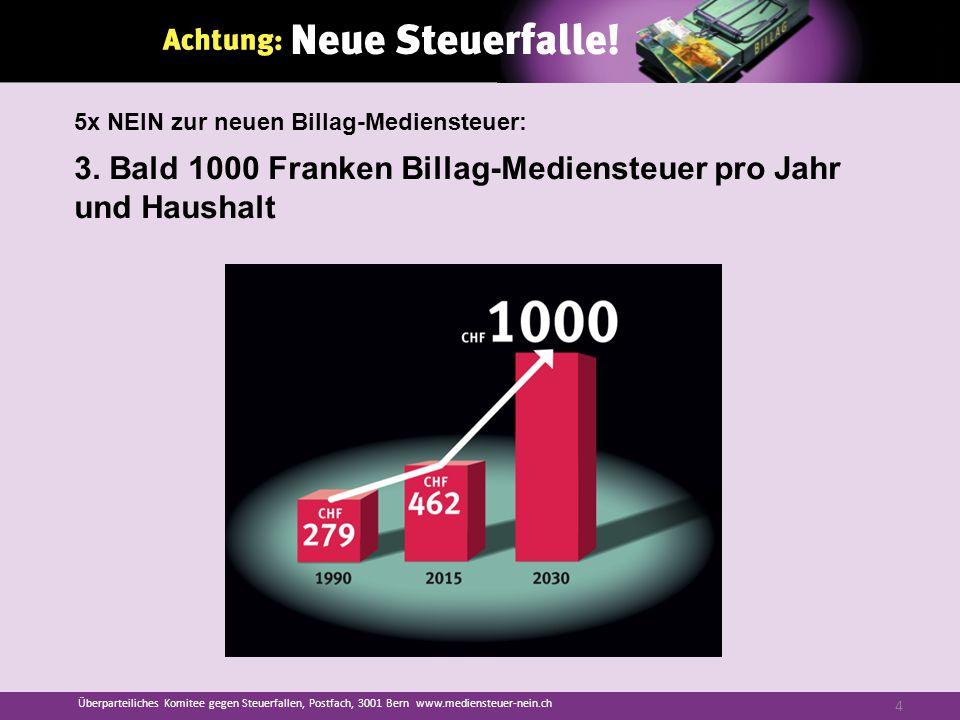3. Bald 1000 Franken Billag-Mediensteuer pro Jahr und Haushalt Überparteiliches Komitee gegen Steuerfallen, Postfach, 3001 Bern www.mediensteuer-nein.