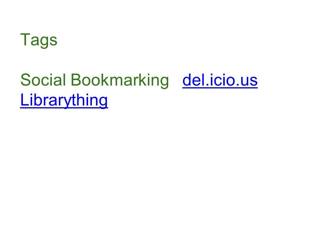Tags Social Bookmarking del.icio.usdel.icio.us Librarything