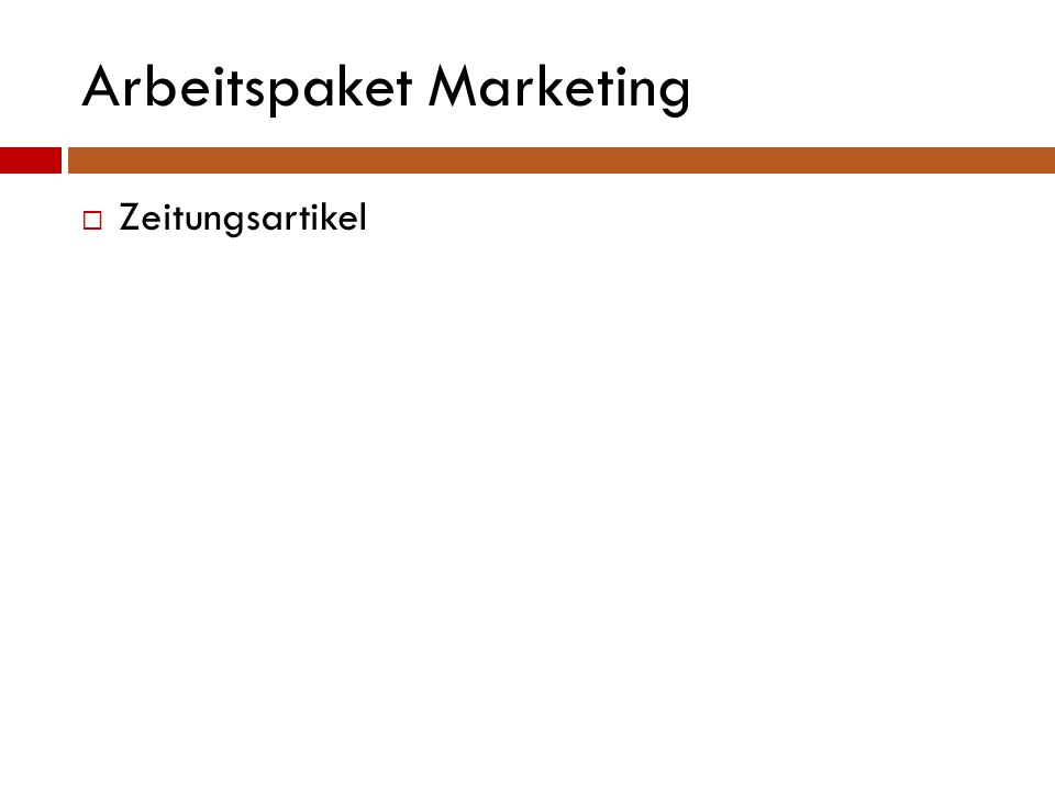 Arbeitspaket Marketing  Zeitungsartikel