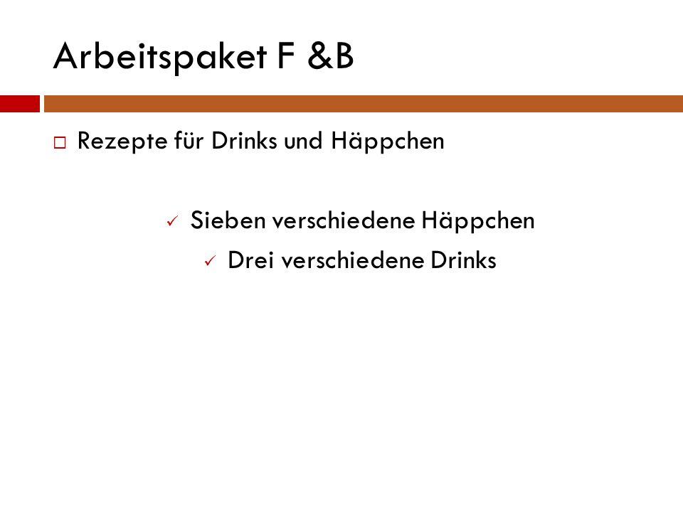 Arbeitspaket F &B  Rezepte für Drinks und Häppchen Sieben verschiedene Häppchen Drei verschiedene Drinks