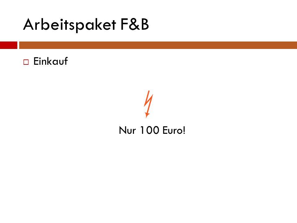 Arbeitspaket F&B  Einkauf Nur 100 Euro!