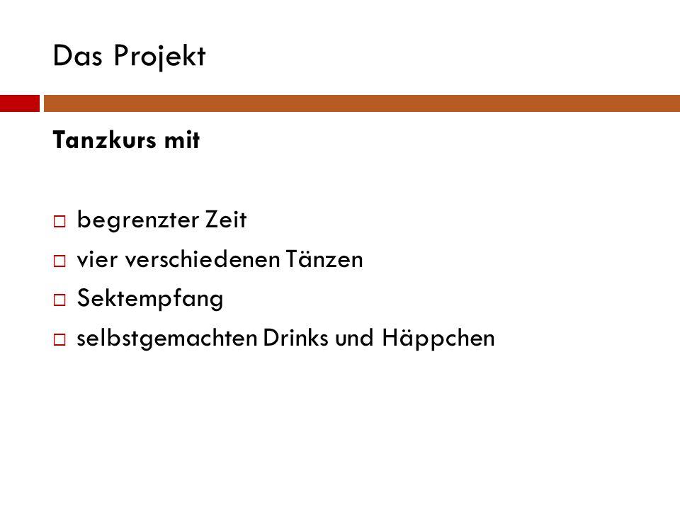 Das Projekt Tanzkurs mit  begrenzter Zeit  vier verschiedenen Tänzen  Sektempfang  selbstgemachten Drinks und Häppchen