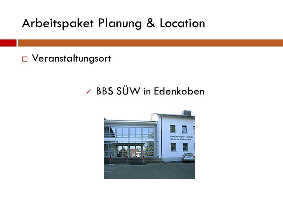 Arbeitspaket Planung & Location  Genehmigungen Schule als Veranstaltungsort Ausschankgenehmigung