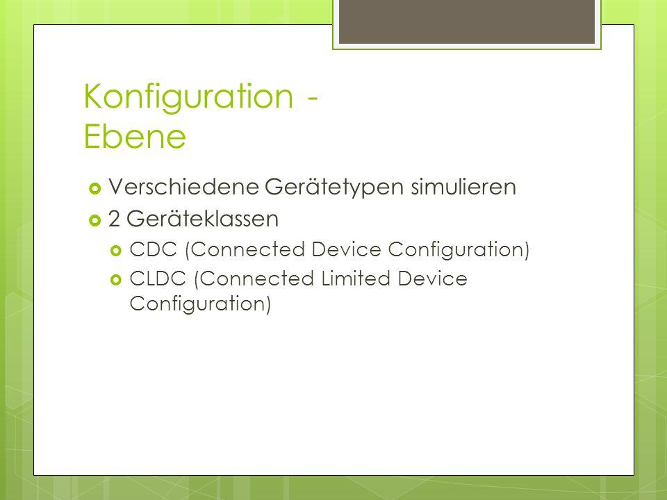 Konfiguration - Ebene  Verschiedene Gerätetypen simulieren  2 Geräteklassen  CDC (Connected Device Configuration)  CLDC (Connected Limited Device Configuration)