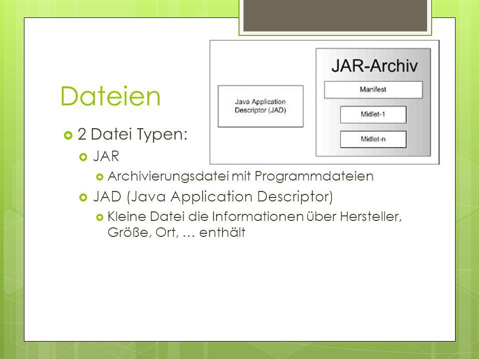 Dateien  2 Datei Typen:  JAR  Archivierungsdatei mit Programmdateien  JAD (Java Application Descriptor)  Kleine Datei die Informationen über Hersteller, Größe, Ort, … enthält