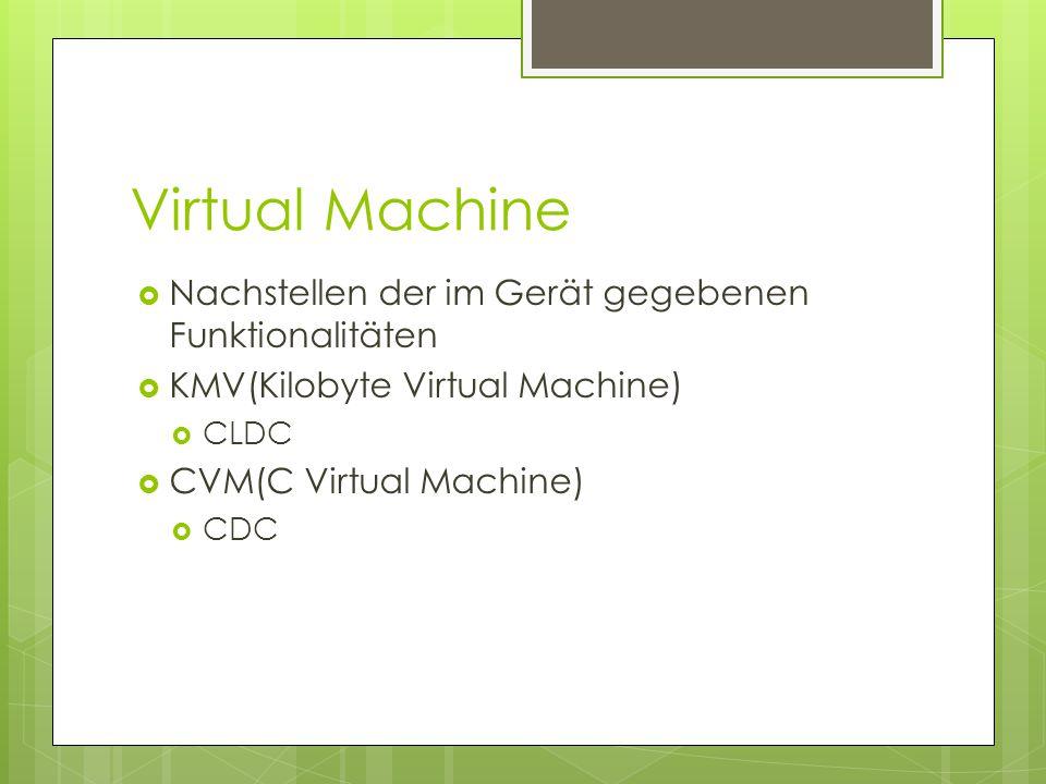 Virtual Machine  Nachstellen der im Gerät gegebenen Funktionalitäten  KMV(Kilobyte Virtual Machine)  CLDC  CVM(C Virtual Machine)  CDC
