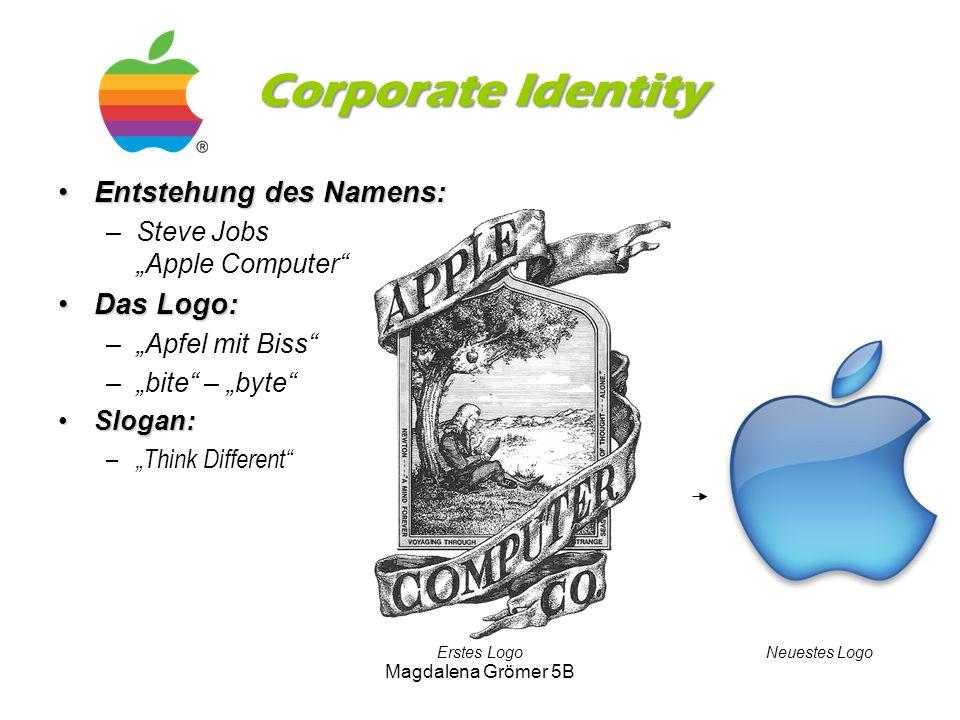 """Corporate Identity Entstehung des Namens:Entstehung des Namens: –Steve Jobs """"Apple Computer"""" Das Logo:Das Logo: –""""Apfel mit Biss"""" –""""bite"""" – """"byte"""" Slo"""