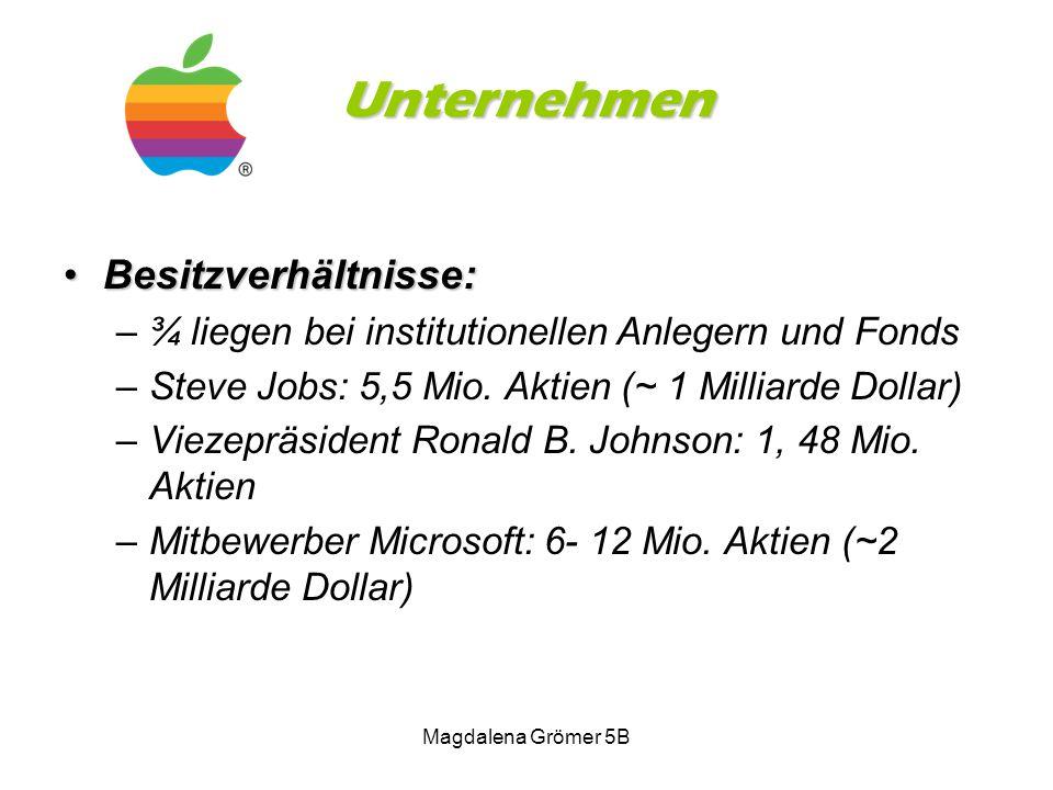 Unternehmen Besitzverhältnisse:Besitzverhältnisse: –¾ liegen bei institutionellen Anlegern und Fonds –Steve Jobs: 5,5 Mio. Aktien (~ 1 Milliarde Dolla
