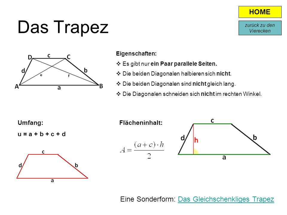 Das Trapez Eigenschaften:  Es gibt nur ein Paar parallele Seiten.  Die beiden Diagonalen halbieren sich nicht.  Die beiden Diagonalen sind nicht gl