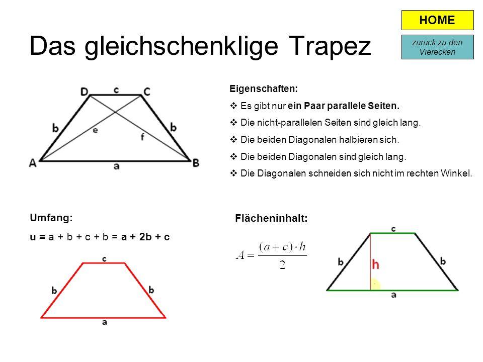 Das gleichschenklige Trapez Eigenschaften:  Es gibt nur ein Paar parallele Seiten.  Die nicht-parallelen Seiten sind gleich lang.  Die beiden Diago