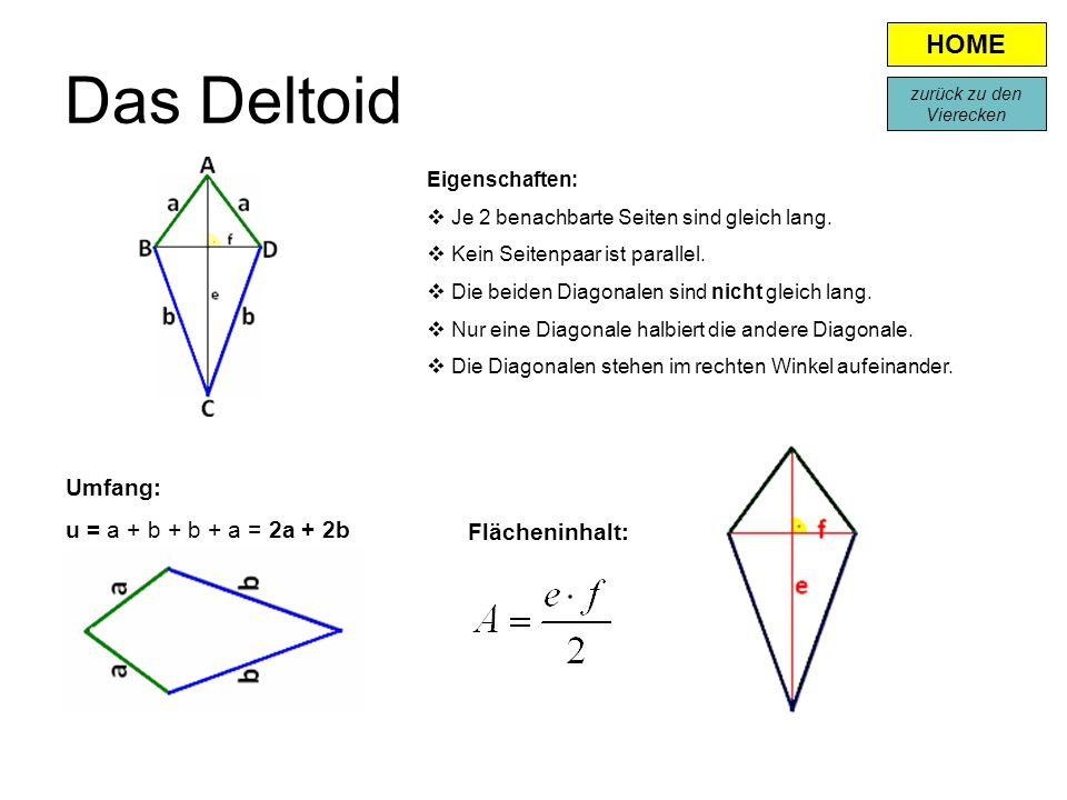 Das Deltoid Eigenschaften:  Je 2 benachbarte Seiten sind gleich lang.  Kein Seitenpaar ist parallel.  Die beiden Diagonalen sind nicht gleich lang.