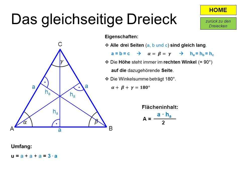 HOME A B C a haha Flächeninhalt: a · h a A = 2 Das gleichseitige Dreieck haha haha a a zurück zu den Dreiecken