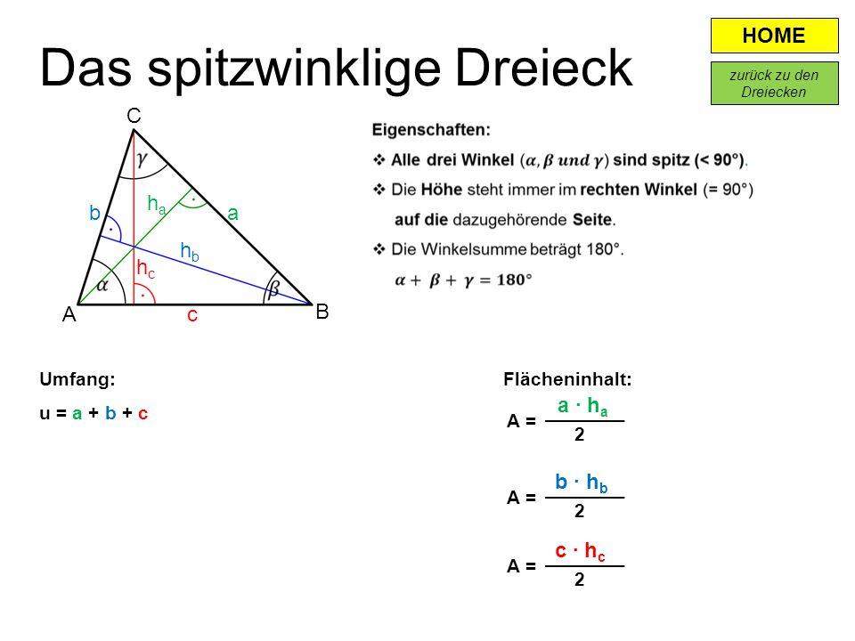 HOME Flächeninhalt: a · h a A = 2 Das spitzwinklige Dreieck A B c ab hbhb haha hchc C b · h b c · h c A = 2 2 Umfang: u = a + b + c zurück zu den Drei
