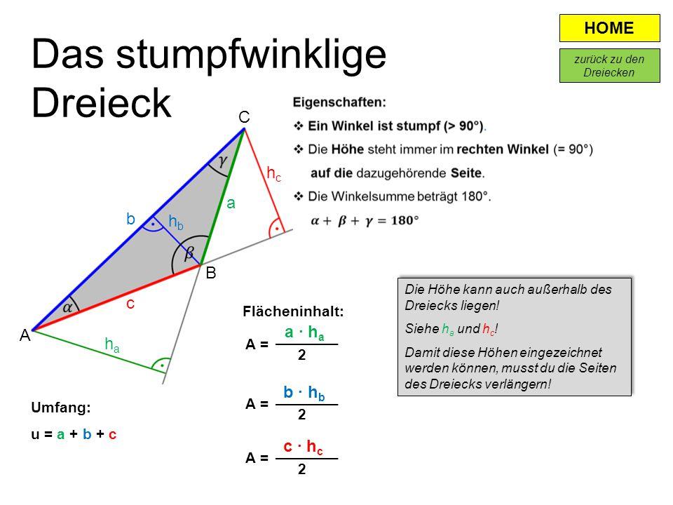 HOME Flächeninhalt: a · h a A = 2 A B c a b hbhb haha hchc C b · h b c · h c A = 2 2 Umfang: u = a + b + c Das stumpfwinklige Dreieck Die Höhe kann au