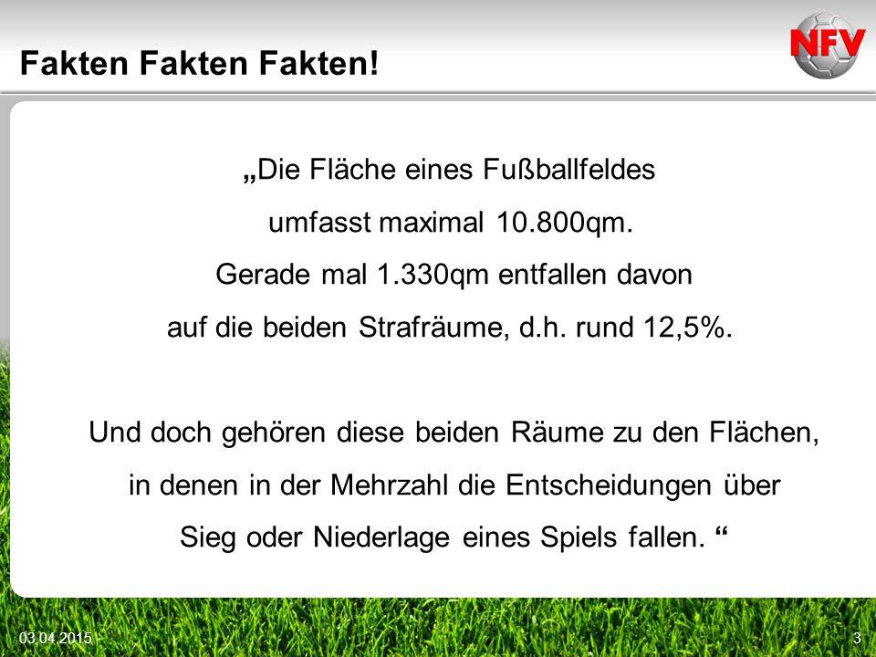 """3 Fakten Fakten Fakten. """"Die Fläche eines Fußballfeldes umfasst maximal 10.800qm."""