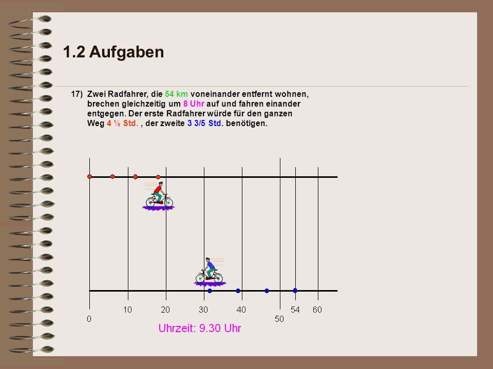 1.2 Aufgaben 17)c)Wie groß ist die Geschwindigkeit in km/h.