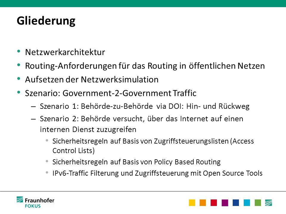 Gliederung Netzwerkarchitektur Routing-Anforderungen für das Routing in öffentlichen Netzen Aufsetzen der Netzwerksimulation Szenario: Government-2-Government Traffic – Szenario 1: Behörde-zu-Behörde via DOI: Hin- und Rückweg – Szenario 2: Behörde versucht, über das Internet auf einen internen Dienst zuzugreifen Sicherheitsregeln auf Basis von Zugriffsteuerungslisten (Access Control Lists) Sicherheitsregeln auf Basis von Policy Based Routing IPv6-Traffic Filterung und Zugriffsteuerung mit Open Source Tools
