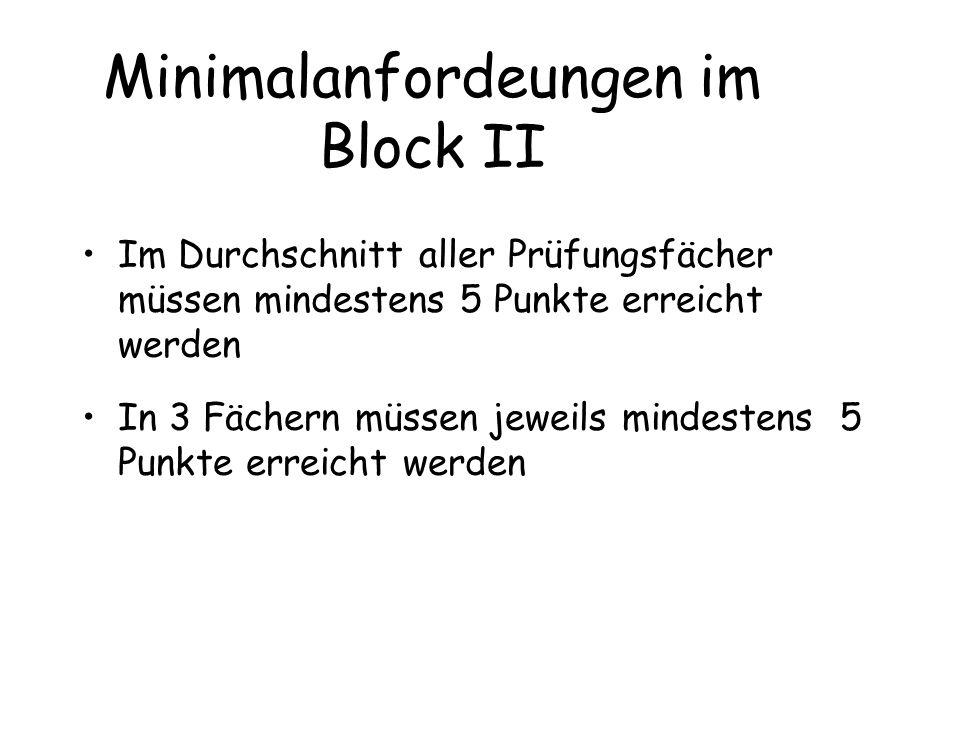 Minimalanfordeungen im Block II Im Durchschnitt aller Prüfungsfächer müssen mindestens 5 Punkte erreicht werden In 3 Fächern müssen jeweils mindestens 5 Punkte erreicht werden