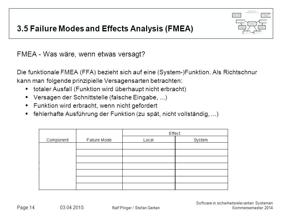 Software in sicherheitsrelevanten Systemen Sommersemester 2014 03.04.2015 Ralf Pinger / Stefan Gerken Page 14 3.5 Failure Modes and Effects Analysis (FMEA) FMEA - Was wäre, wenn etwas versagt.