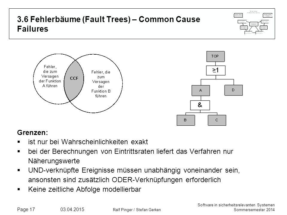 Software in sicherheitsrelevanten Systemen Sommersemester 2014 03.04.2015 Ralf Pinger / Stefan Gerken Page 17 3.6 Fehlerbäume (Fault Trees) – Common Cause Failures Grenzen:  ist nur bei Wahrscheinlichkeiten exakt  bei der Berechnungen von Eintrittsraten liefert das Verfahren nur Näherungswerte  UND-verknüpfte Ereignisse müssen unabhängig voneinander sein, ansonsten sind zusätzlich ODER-Verknüpfungen erforderlich  Keine zeitliche Abfolge modellierbar