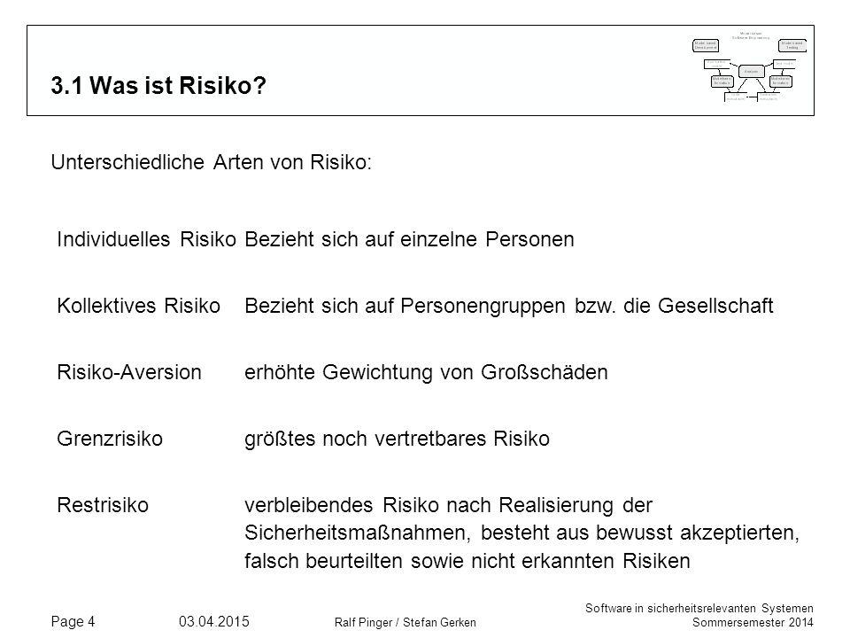 Software in sicherheitsrelevanten Systemen Sommersemester 2014 03.04.2015 Ralf Pinger / Stefan Gerken Page 15 3.5 Failure Modes and Effects Analysis (FMEA) Die Ergebnisse einer FFA (Functional Failure Analysis) werden in einer Tabelle protokolliert, die (mindestens) die folgenden Kategorien enthält:  Referenz: Eindeutige Referenz auf die Funktionsbeschreibung (z.