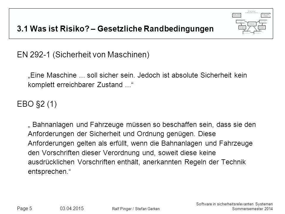 Software in sicherheitsrelevanten Systemen Sommersemester 2014 03.04.2015 Ralf Pinger / Stefan Gerken Page 5 3.1 Was ist Risiko.