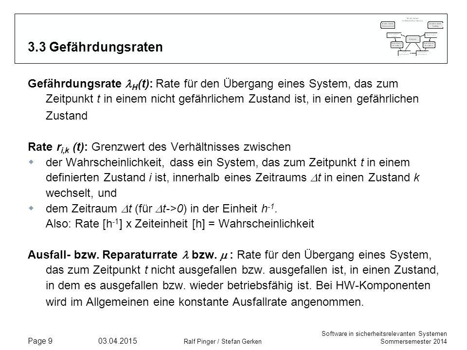 Software in sicherheitsrelevanten Systemen Sommersemester 2014 03.04.2015 Ralf Pinger / Stefan Gerken Page 10 3.3 Gefährdungsraten  Typischer Verlauf einer Gefährdungsrate für sicherungstechnische Systeme: Die Gefährdungsrate schwingt sich ein, deshalb spricht man vereinfachend von H   Als Faustregel kann man H  1/MTTH, MTTH ist aber (mathematisch) wesentlich aufwendiger zu bestimmen