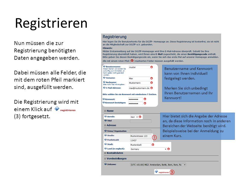 Nun müssen die zur Registrierung benötigten Daten angegeben werden.