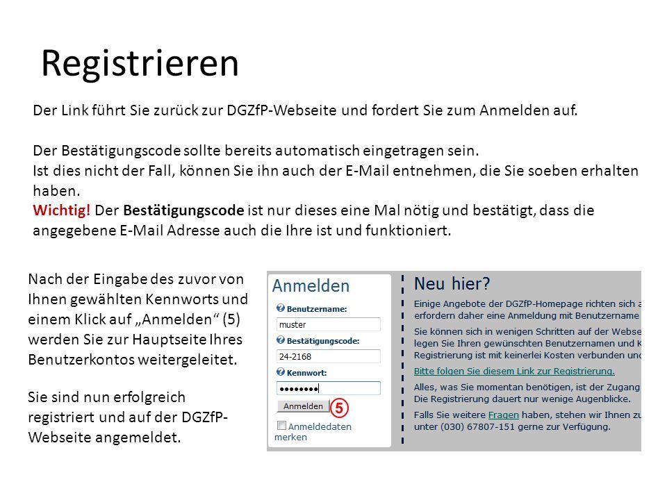 Registrieren Der Link führt Sie zurück zur DGZfP-Webseite und fordert Sie zum Anmelden auf.
