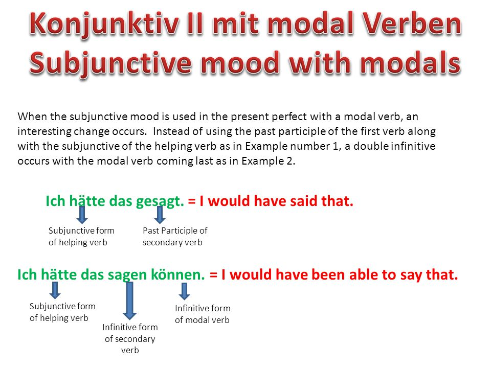When the subjunctive mood is used in the present perfect with a modal verb, an interesting change occurs.