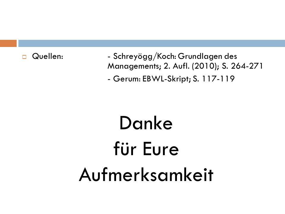  Quellen: - Schreyögg/Koch: Grundlagen des Managements; 2. Aufl. (2010); S. 264-271 - Gerum: EBWL-Skript; S. 117-119 Danke für Eure Aufmerksamkeit