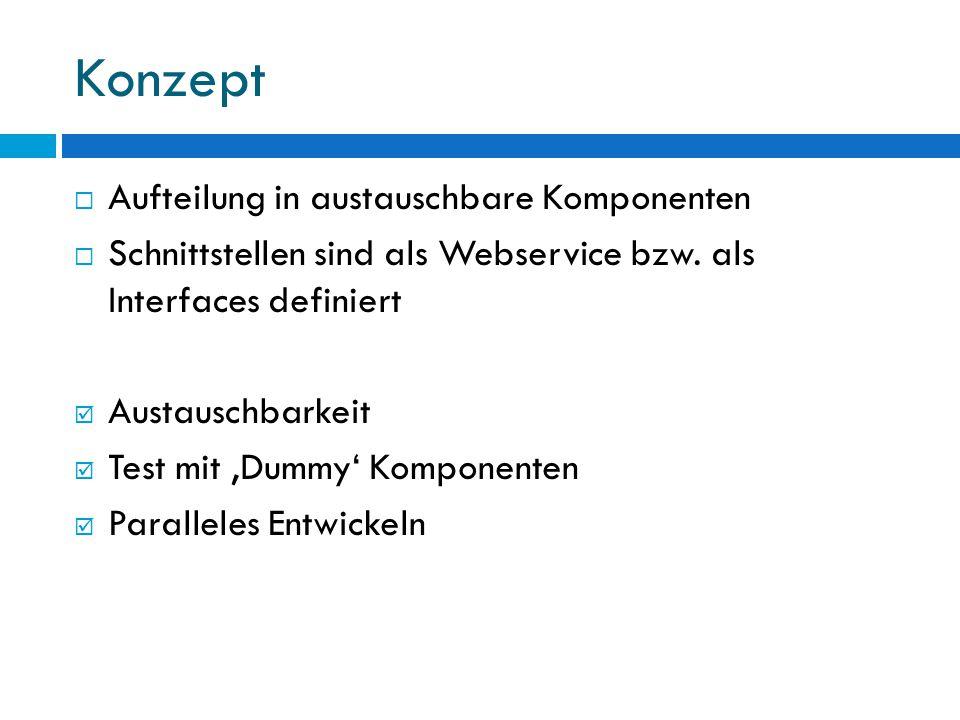 Konzept  Aufteilung in austauschbare Komponenten  Schnittstellen sind als Webservice bzw.