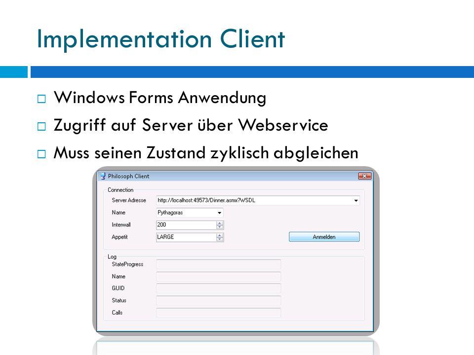 Implementation Server  Stellt Webservices bereit  Kapselt die Zustandsverwaltung