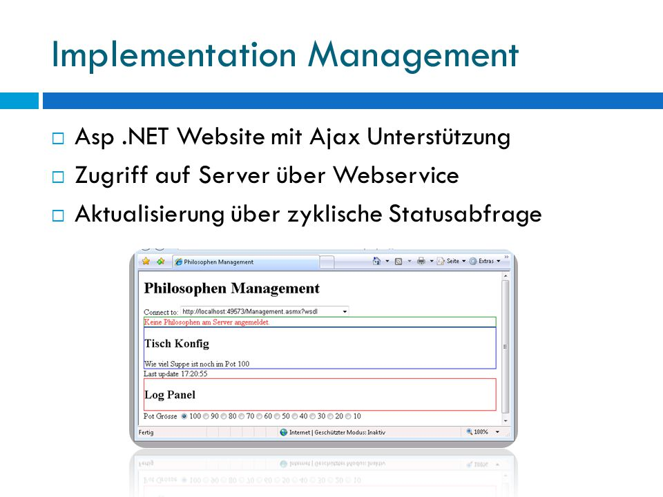Implementation Management  Asp.NET Website mit Ajax Unterstützung  Zugriff auf Server über Webservice  Aktualisierung über zyklische Statusabfrage
