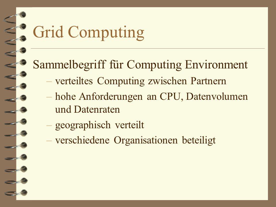 Grid Computing Sammelbegriff für Computing Environment –verteiltes Computing zwischen Partnern –hohe Anforderungen an CPU, Datenvolumen und Datenraten –geographisch verteilt –verschiedene Organisationen beteiligt
