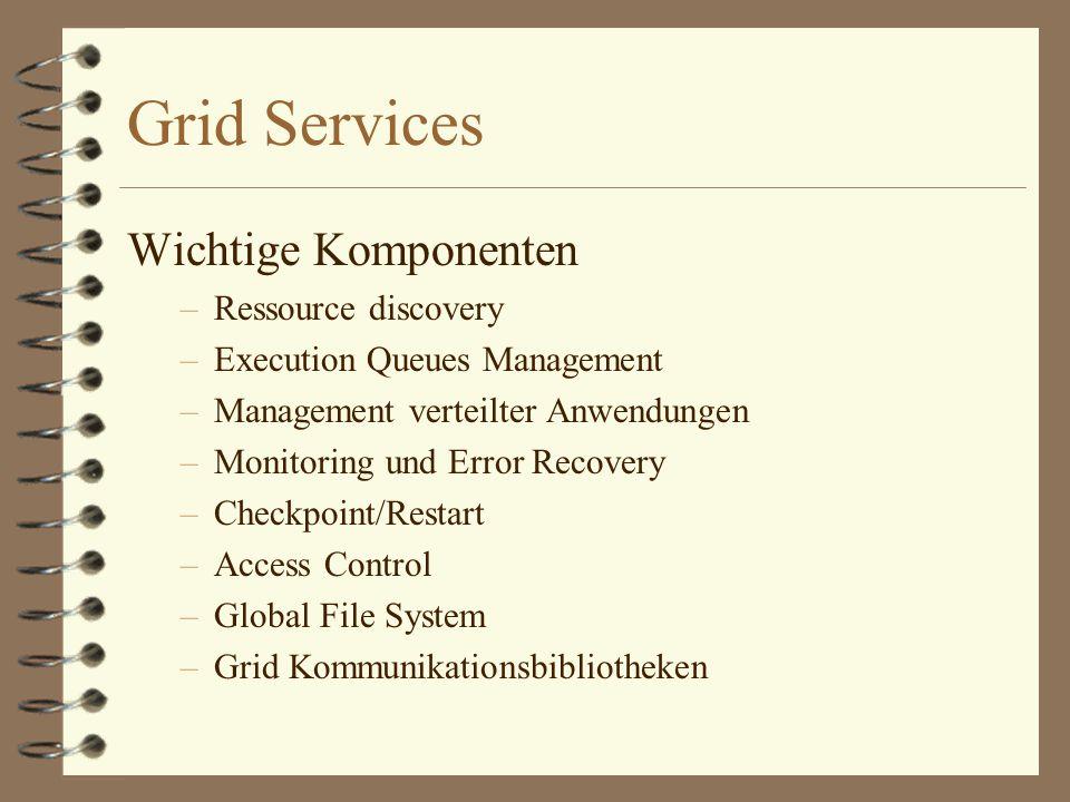 Grid Services Wichtige Komponenten –Ressource discovery –Execution Queues Management –Management verteilter Anwendungen –Monitoring und Error Recovery –Checkpoint/Restart –Access Control –Global File System –Grid Kommunikationsbibliotheken