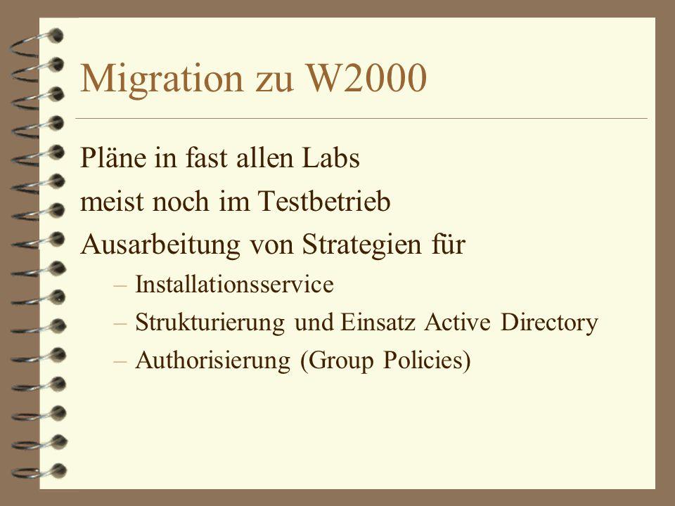 Migration zu W2000 Pläne in fast allen Labs meist noch im Testbetrieb Ausarbeitung von Strategien für –Installationsservice –Strukturierung und Einsatz Active Directory –Authorisierung (Group Policies)