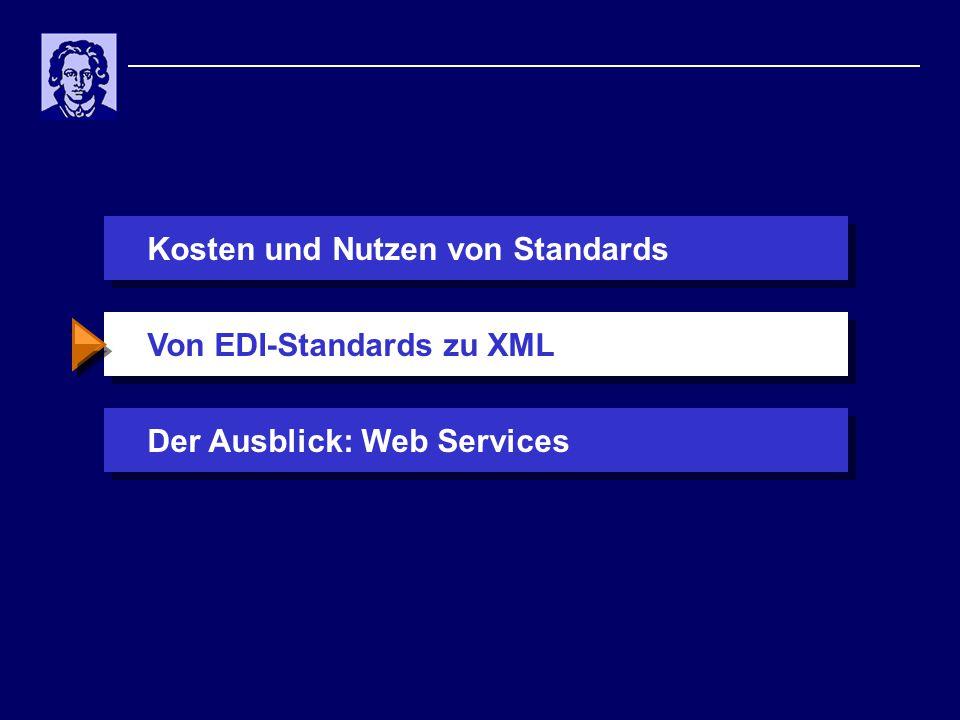 Kosten und Nutzen von StandardsDer Ausblick: Web ServicesVon EDI-Standards zu XML