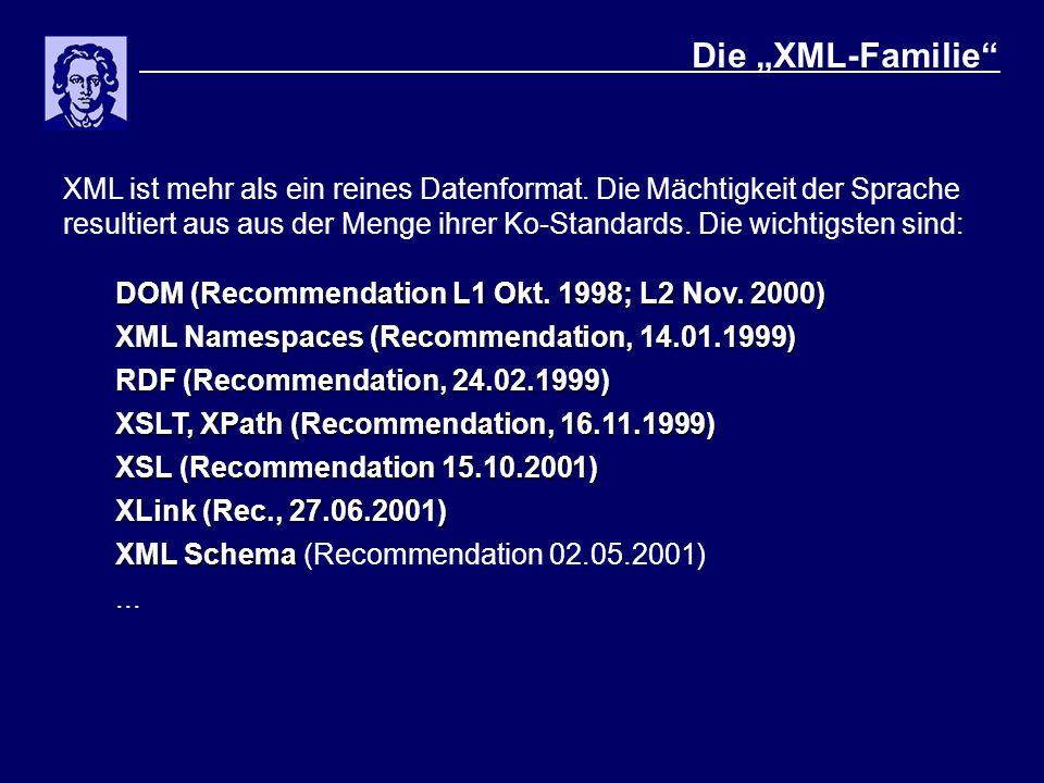 """Die """"XML-Familie"""" XML ist mehr als ein reines Datenformat. Die Mächtigkeit der Sprache resultiert aus aus der Menge ihrer Ko-Standards. Die wichtigste"""