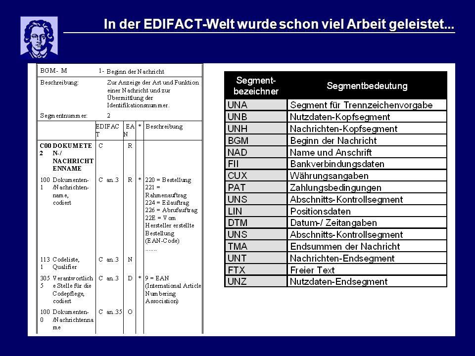 In der EDIFACT-Welt wurde schon viel Arbeit geleistet...