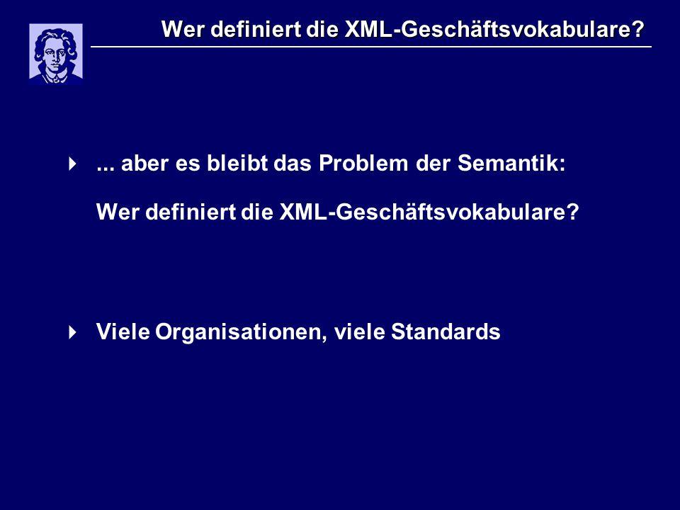 Wer definiert die XML-Geschäftsvokabulare? ... aber es bleibt das Problem der Semantik: Wer definiert die XML-Geschäftsvokabulare?  Viele Organisati