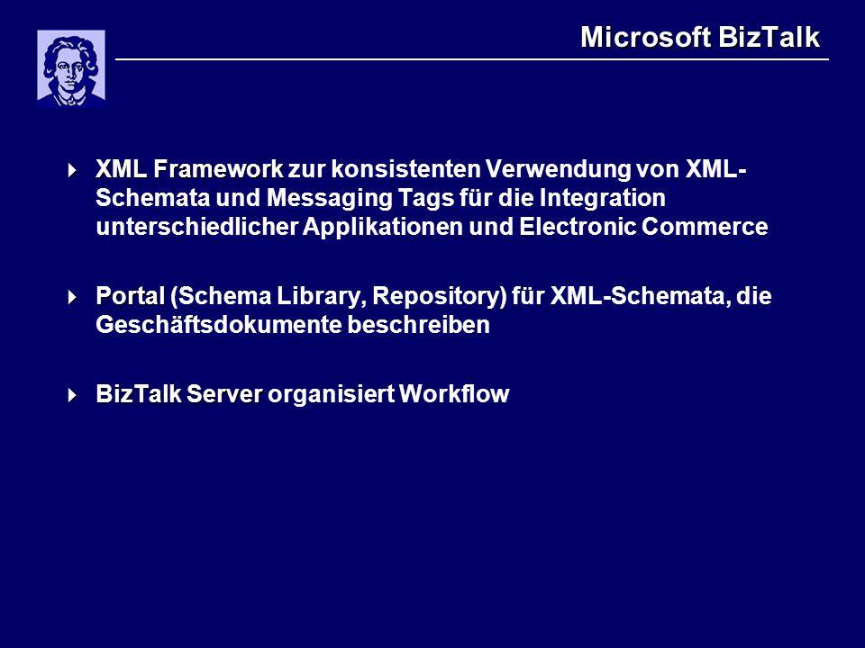 Microsoft BizTalk  XML Framework  XML Framework zur konsistenten Verwendung von XML- Schemata und Messaging Tags für die Integration unterschiedlicher Applikationen und Electronic Commerce  Portal  Portal (Schema Library, Repository) für XML-Schemata, die Geschäftsdokumente beschreiben  BizTalk Server  BizTalk Server organisiert Workflow