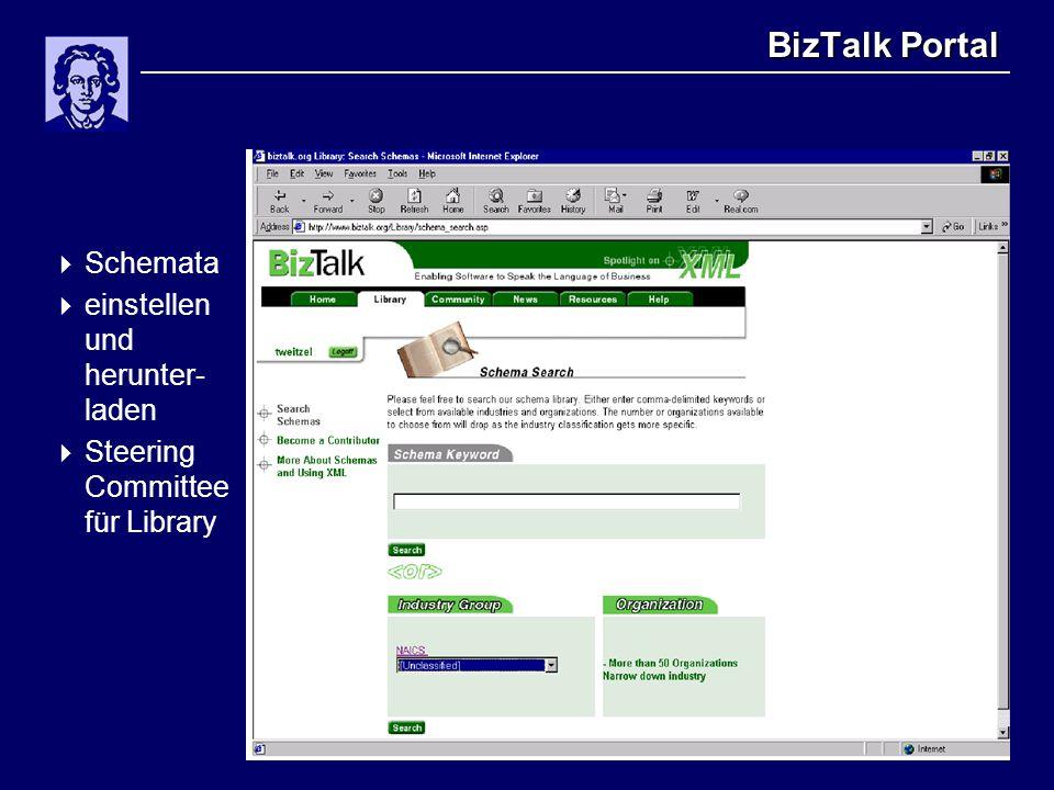 BizTalk Portal  Schemata  einstellen und herunter- laden  Steering Committee für Library